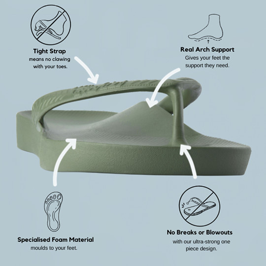 archies arch supporting footwear features